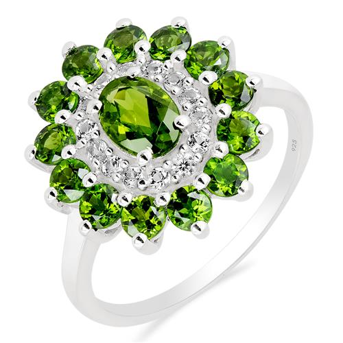 CHROME DIOPSITE RING WITH ZIRCON