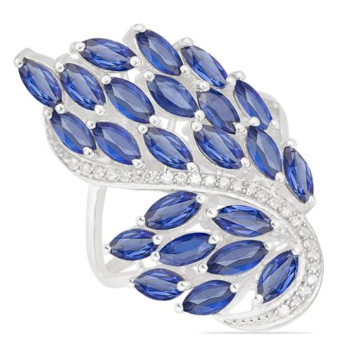 BLUE KYANITE RING WITH ZIRCON