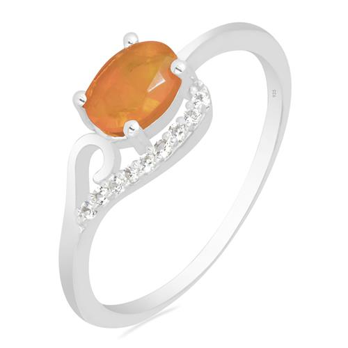 ORANGE OPAL RING WITH ZIRCON