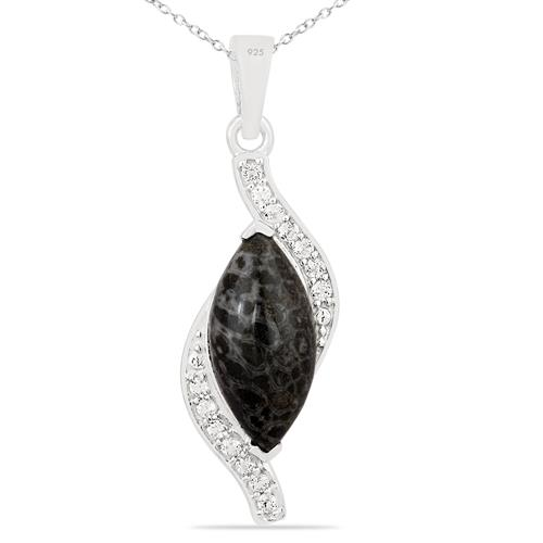 BLACK CORAL PENDANT WITH ZIRCON