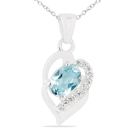 SKY BLUE TOPAZ PENDANT WITH ZIRCON