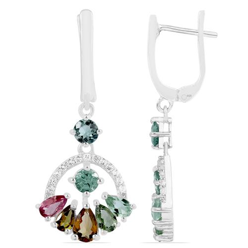 MULTI TOURMALINE EARRING WITH WHITE ZIRCON