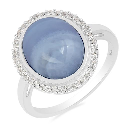 BLUE LACE AGATE RING WITH WHITE ZIRCON #VR018942