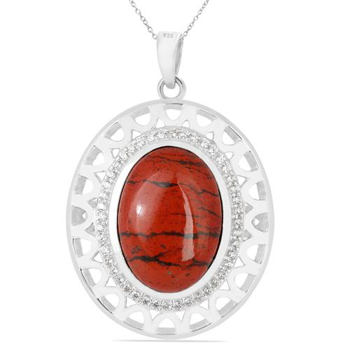RED JASPER PENDANT WITH ZIRCON
