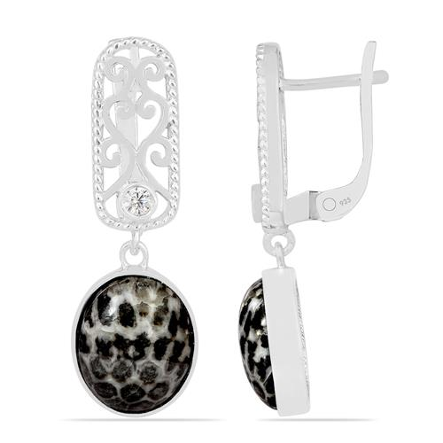 BALCK CORAL EARRING WITH ZIRCON