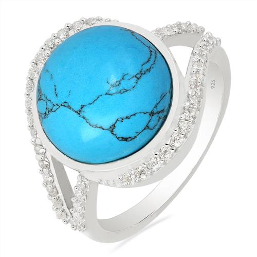 SYNTHETIC TURQUOISE RING WITH ZIRCON