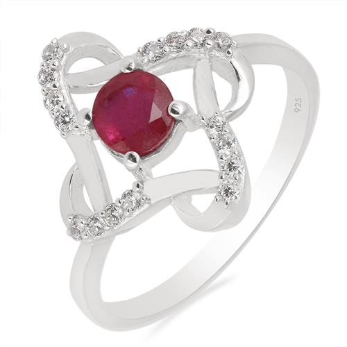 GLASS FILLED RUBY RING WITH ZIRCON