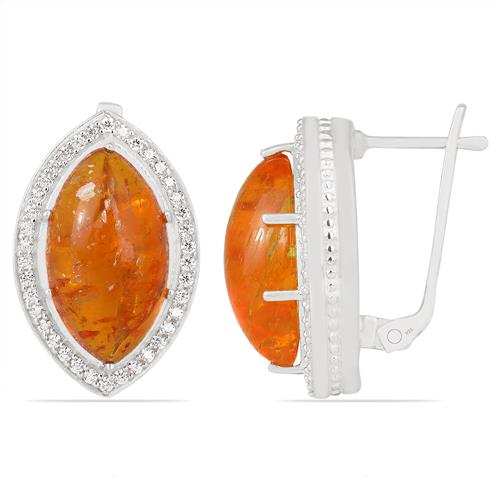 SYNTHETIC AMBER EARRING WITH ZIRCON