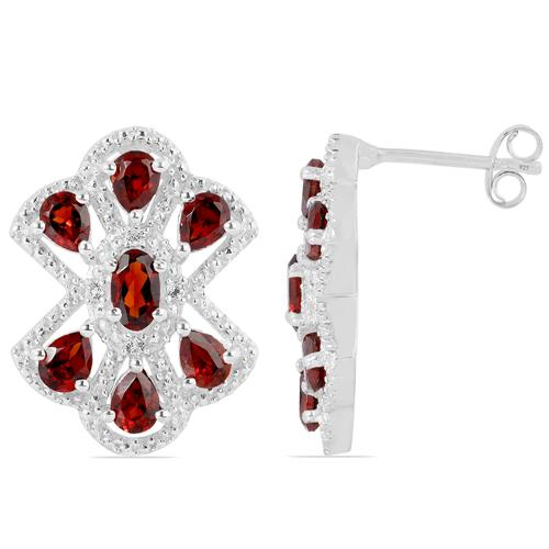 GARNET EARRING WITH ZIRCON