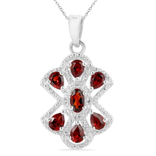 GARNET PENDANT WITH ZIRCON
