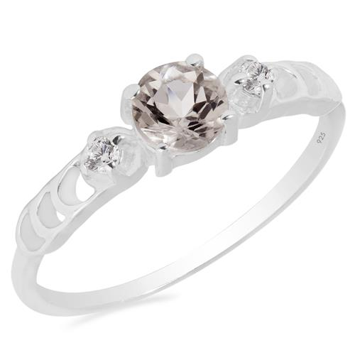 MORGANITE RING WITH WHITE ZIRCON