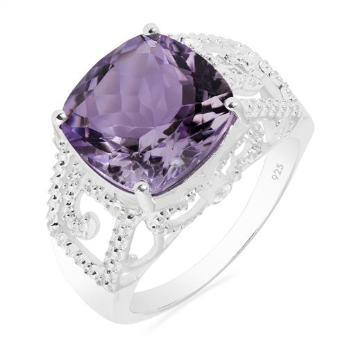 PINK AMETHYST RING WITH WHITE ZIRCON