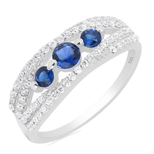 BLUE SAPPHIRE RING WITH WHITE ZIRCON