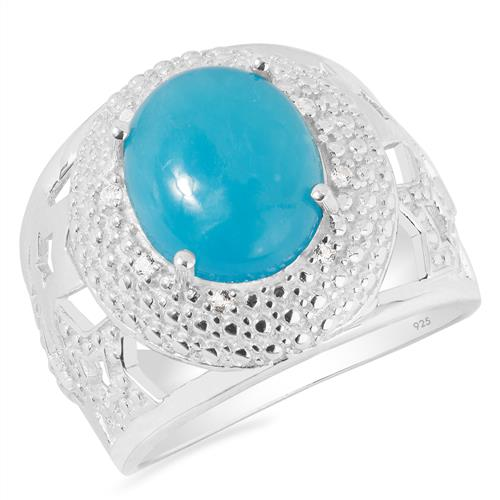 SMITHSONITE RING WITH WHITE ZIRCON