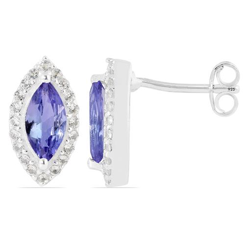 TANZANITE EARRING WITH WHITE ZIRCON