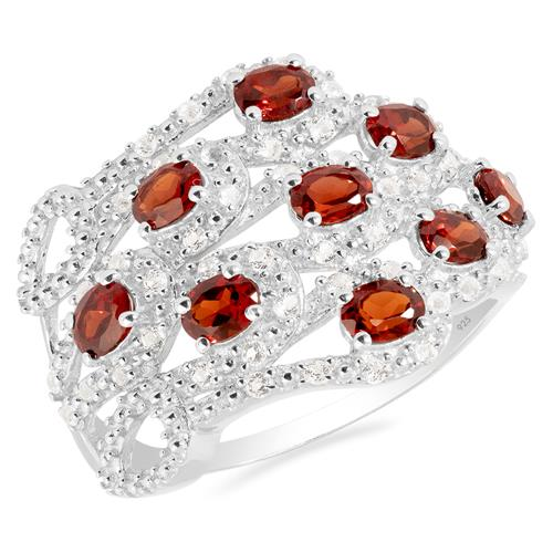 GARNET RING WITH WHITE ZIRCON #VR021380