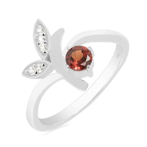VR021120 GARNET RING WITH WHITE ZIRCON