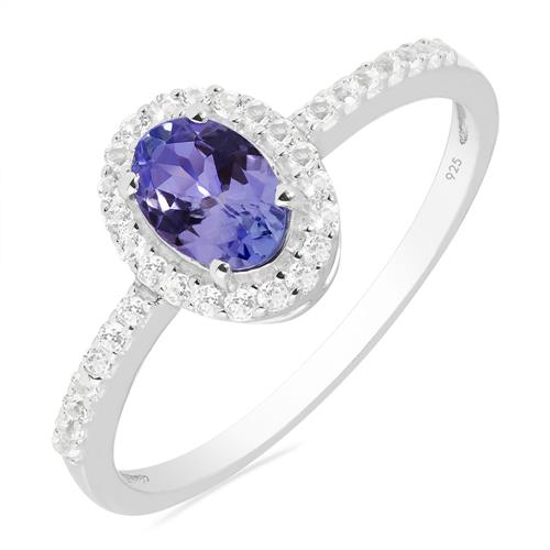 VR020896 TANZANITE RING WITH WHITE ZIRCON
