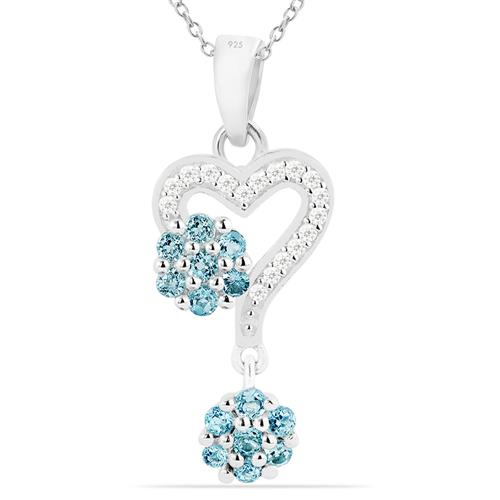 VP021098 SKY BLUE TOPAZ PENDANT WITH WHITE ZIRCON #VP021098
