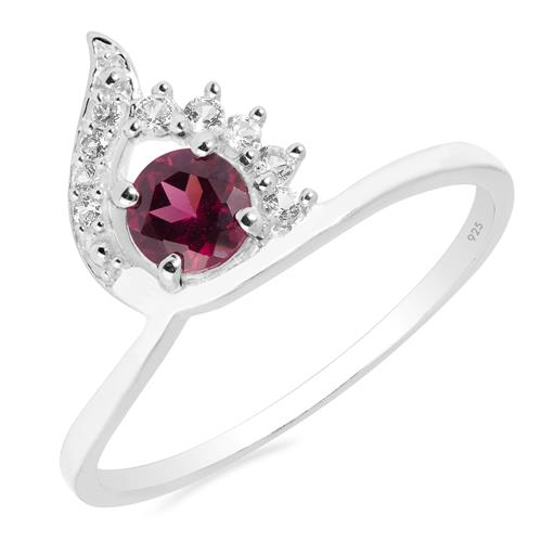 VR020865 RHODOLITE RING WITH WHITE ZIRCON