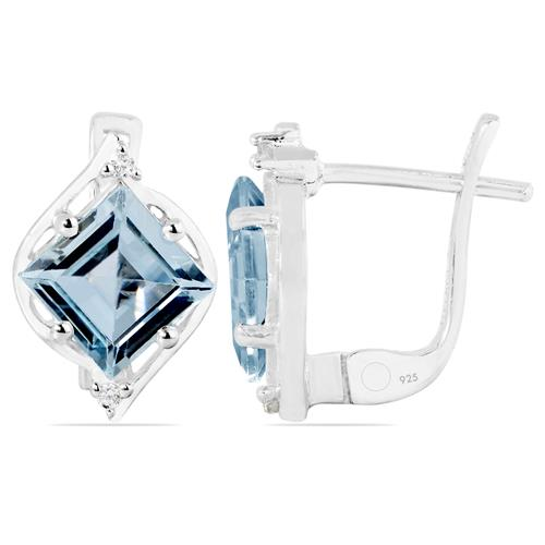 SKY BLUE TOPAZ EARRING WITH WHITE ZIRCON #VE019494