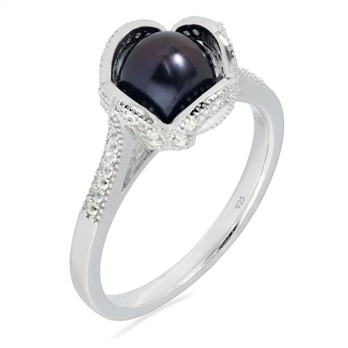 FRESH WATER BLACK PEARL RING WITH WHITE ZIRCON #VR023359