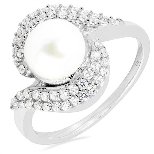 FRESH WATER WHITE PERAL RING WITH WHITE ZIRCON #VR010056