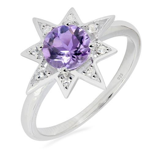 BRAZILIAN AMETHYST SILVER RING WITH WHITE ZIRCON #VR023185