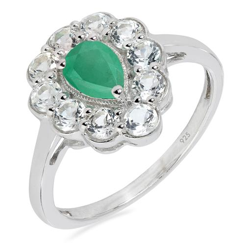 EMERALD SILVER RING WITH WHITE ZIRCON #VR023261