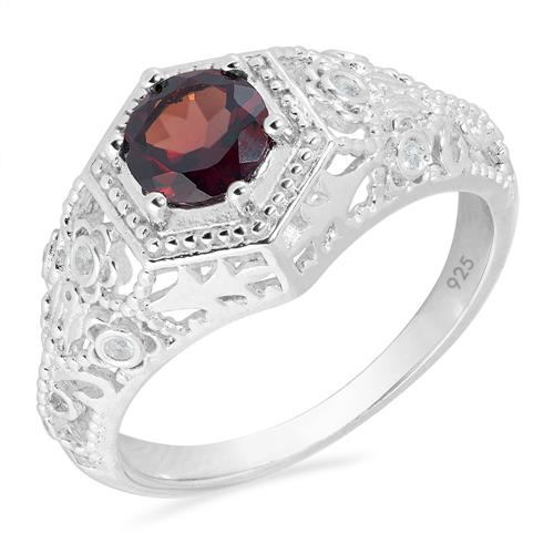 GARNET SILVER RING WITH WHITE ZIRCON #VR023308