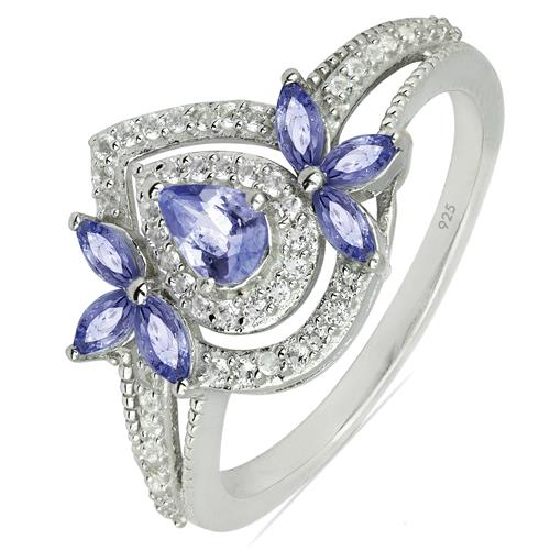 TANZANITE SILVER RING WITH WHITE ZIRCON