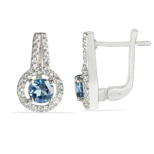 SKY BLUE TOPAZ EARRING WITH WHITE ZIRCON #VE011539
