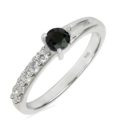BLACK SAPPHIRE RING WITH WHITE ZIRCON #VR011485