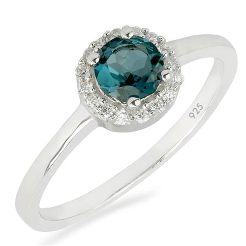 LONDON BLUE TOPAZ RING WITH WHITE ZIRCON #VR011545
