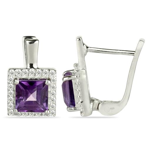 BRAZILIAN AMETHYST EARRING WITH WHITE ZIRCON