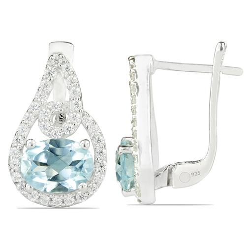 SKY BLUE TOPAZ EARRING WITH WHITE ZIRCON #VE011894