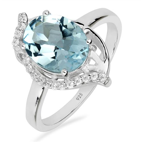 SKY BLUE TOPAZ RING WITH WHITE ZIRCON #VR014683