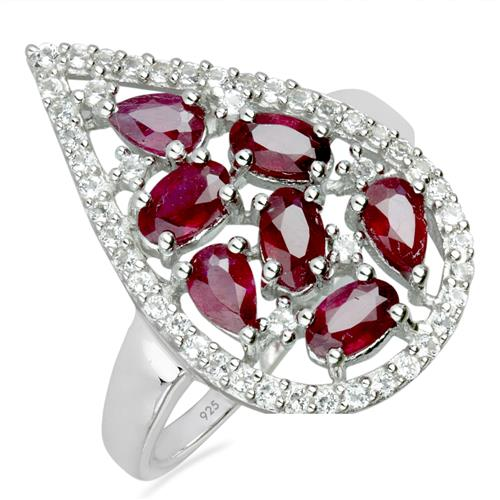 GLASS FILLED RUBY SILVER RING WITH WHITE ZIRCON #VR09924