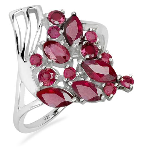 GLASS FILLED RUBY SILVER RING #VR020241