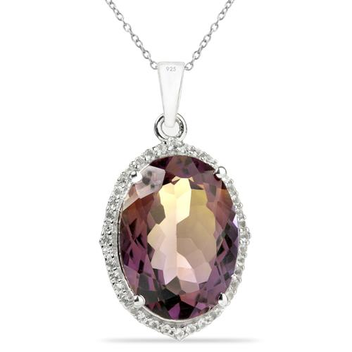 SYNTHETIC AMETRINE SILVER PENDANT #VP013539