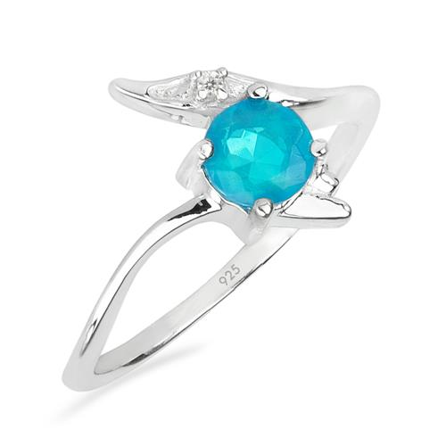 APATITE SILVER RING WITH WHITE ZIRCON #VR020068