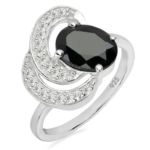 BLACK ONYX SILVER RING WITH WHITE ZIRCON #VR025763