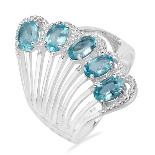 SWISS BLUE TOPAZ SILVER RING WITH WHITE ZIRCON #VR023417