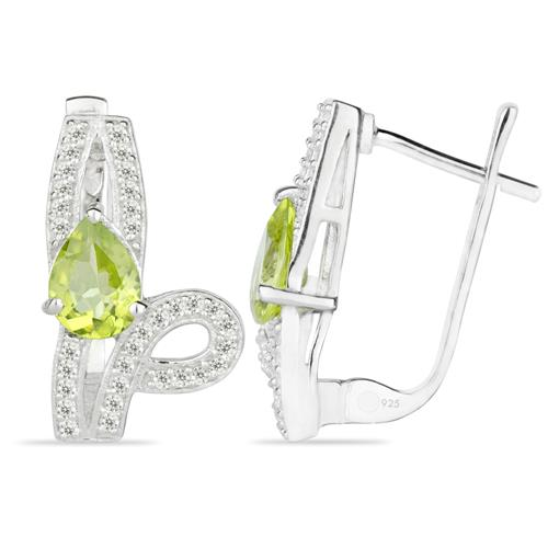 PERIDOT SILVER EARRING WITH WHITE ZIRCON #VE020125