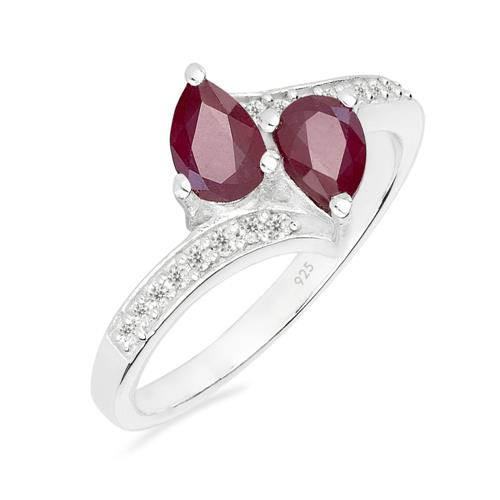 GLASS FILLED RUBY SILVER RING WITH WHITE ZIRCON #VR012819