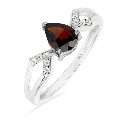 GARNET SILVER RING WITH WHITE ZIRCON #VR025705