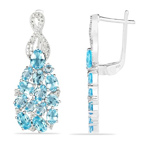 SKY BLUE TOPAZ SILVER EARRING WITH WHITE ZIRCON #VE025279