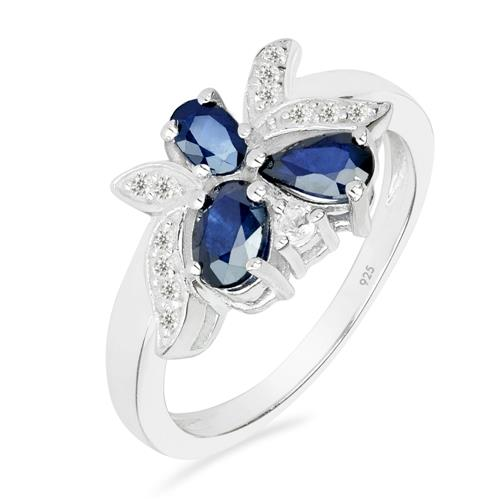 BLUE SAPPHIRE SILVER RING WITH WHITE ZIRCON #VR025740