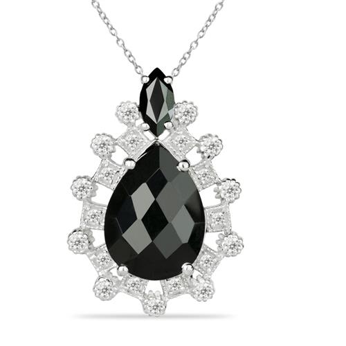 BLACK ONYX SILVER PENDANT WITH WHITE ZIRCON #VP025649