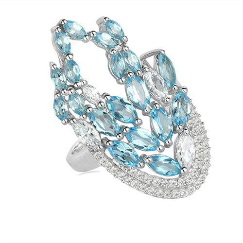 SWISS BLUE TOPAZ SILVER RING WITH WHITE ZIRCON #VR025669